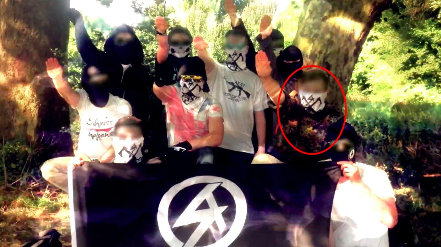 Hannam saluting in propaganda video