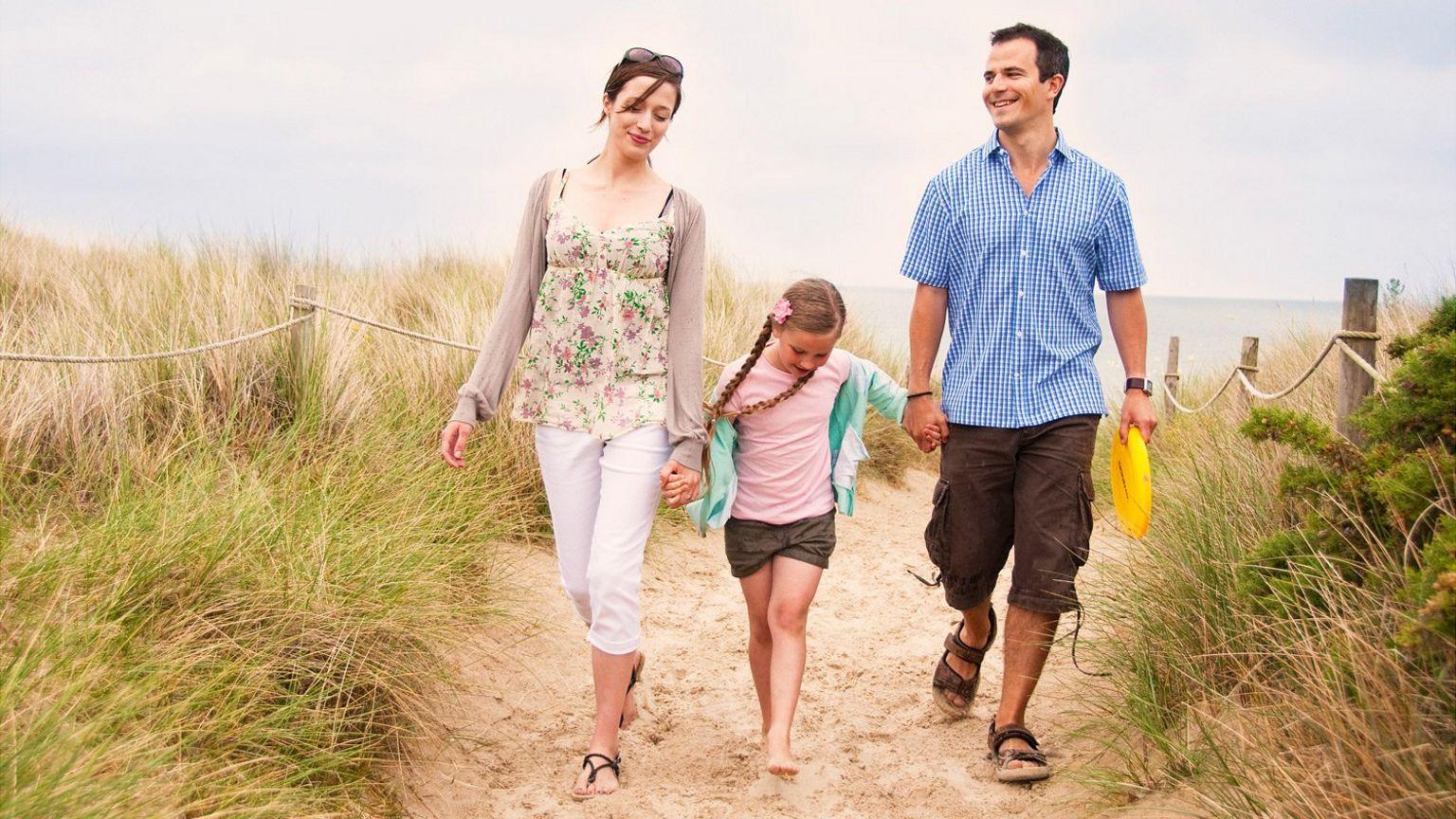 Family at a UK beach