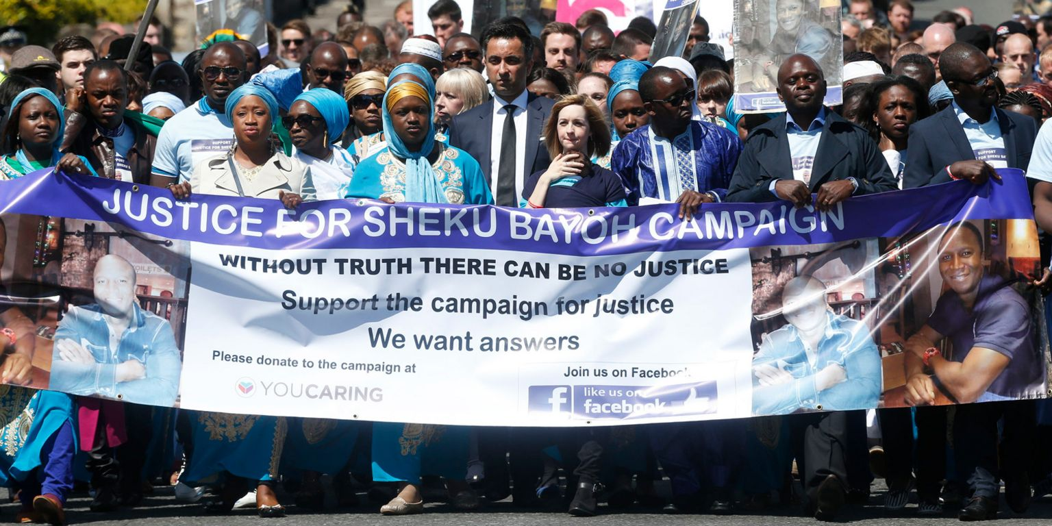 Mourners at Sheku Bayoh's funeral