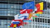 Flags outside the European Parliament building