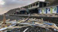Damaged Cromer beach huts