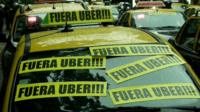 Taxis in Buenos Aires covered stickers