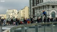 Abseiling down the i360