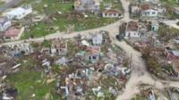 Aerial view of damaged buildings