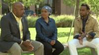 L-R: Ben Kazora, BBC Africa's Zuhura Yunus and Leader Gennis