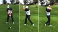Joe Miller drives golf ball