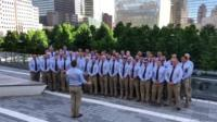 Tondu RFC male voice choir singing in New York