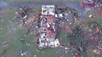 Devastated houses in Nashville, Tennessee