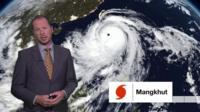 BBC weather presenter Darren Bett provides an update on Typhoon Mangkhut