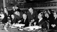 Walter Hallstein and Konrad Adenauer, 1957
