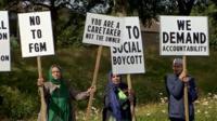 Anti-FGM protestors outside mosque