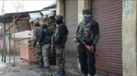 Indian soldiers in Pulwama district, Indian-administered Kashmir