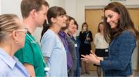 Duchess of Cambridge meets staff at King's College Hospital, London