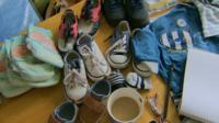 Clothes and shoes donated for refugees