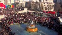 Marchers in Trafalgar Square