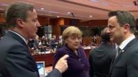 David Cameron speaking to EU leaders