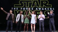 JJ Abrams and cast of Star Wars: The Force Awakens on stage