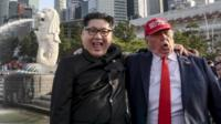 Trump and Kim impersonators