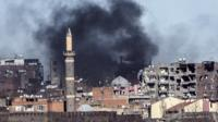 Smoke rising over troubled Sur district of Diyarbakir