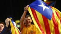 Catalonian pro-independence supporters celebrate in Barcelona, Spain