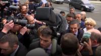 Francois Fillon in media scrum
