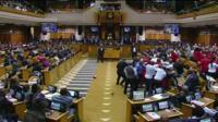 Brawl in South African parliament 17 May 2016