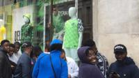 Fans spent hours waiting in line to try to get hold of the Super Eagles' new replica football strip.