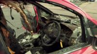 Burnt out Vauxhall Zafira-B