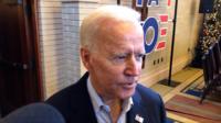 Democratic candidate Joe Biden reacted to Senator Kamala Harris' leaving the 2020 presidential race.