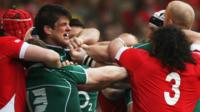 A brawl breaks out in the 2009 Six Nations match between Wales and Ireland in Cardiff