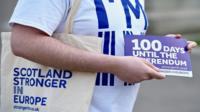 Man holds Scotland Stronger in Europe leaflet