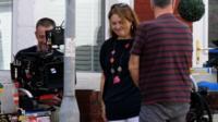 Ruth Jones on set