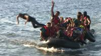Migrants arriving on the coast of Lesbos