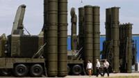 Russian anti-aicraft missile systems S-300 (R) and S-400 (L) on display at military industrial exhibition