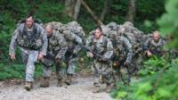 Soldiers conduct mountaineering training during the Ranger Course on Mount Yonah in Cleveland, Georgia, on 14 July
