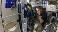 Tim Peake washing in the ISS