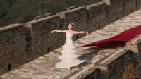 Model on the Great Wall of China