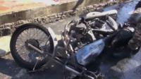 Motorbike at blast scene
