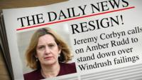 Mocked up newspaper calling on Amber Rudd to resign