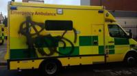 vandalised ambulance