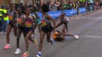 London Marathon: Sumgong wins despite fall