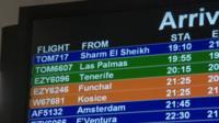 Arrivals screen in Bristol Airport