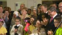 Angel Merkel in migrant camp