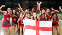England netball team cheering