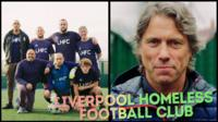 Liverpool Homeless FC (left) and comedian John Bishop (right)