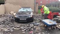 Audi crushed by collapsed car port in Colchester