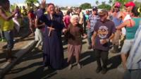 Villagers celebrate