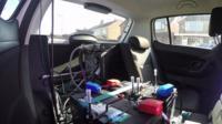 Testing equipment inside of car