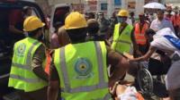 Rescue workers at scene of Haj stampede