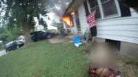 Body camera footage captured a three-year-old girl and her grandmother being pulled from the basement of their burning home.